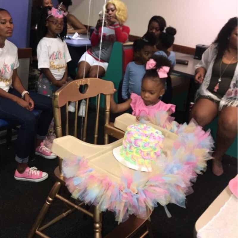 Rainbow Tulle Roll diy kid Tutu Skirt boy girl one year older 1st first unicorn birthday Party High Chair baby shower Decoration