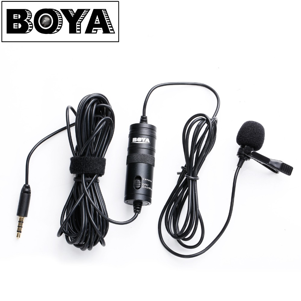 BOYA BY-M1 Omnidirectional Camera Lavalier Condenser Microphone Mic for Canon Nikon Sony DSLR Cameras and IOS iPhone Smartphones yanmai microphone omnidirectional dynamic condenser sound mic