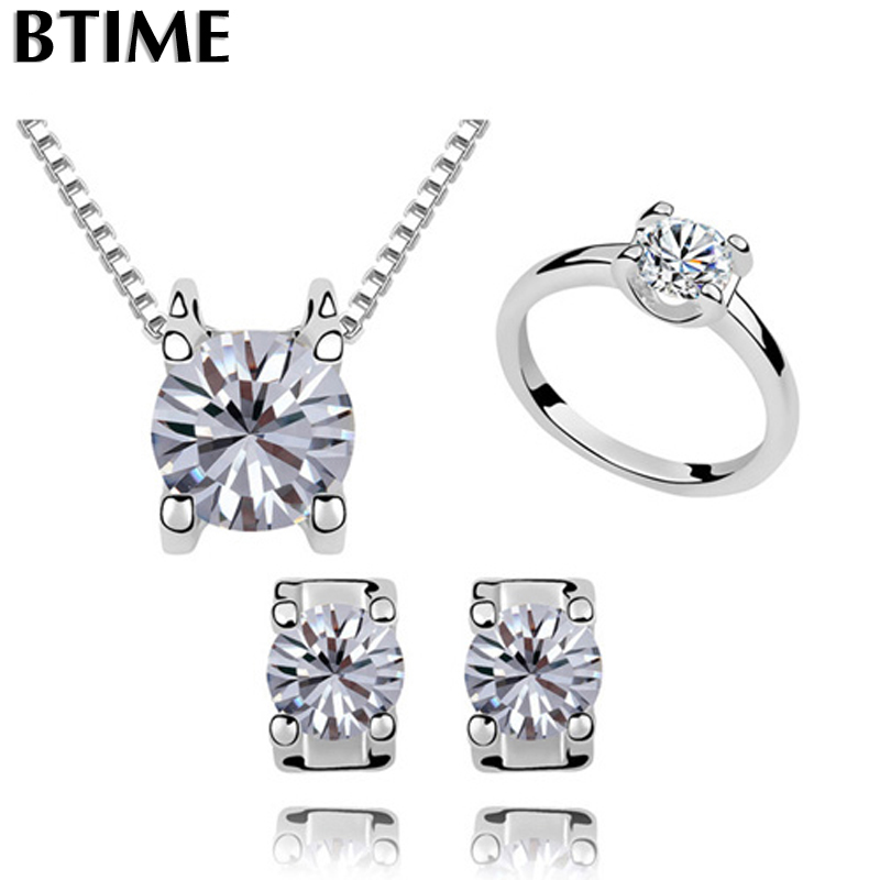 6a9344ac4e Wholesale Classical Necklace Earrings Ring Jewelry Sets Made With Women  Wedding Accessories Silver Crystals From Swarovski
