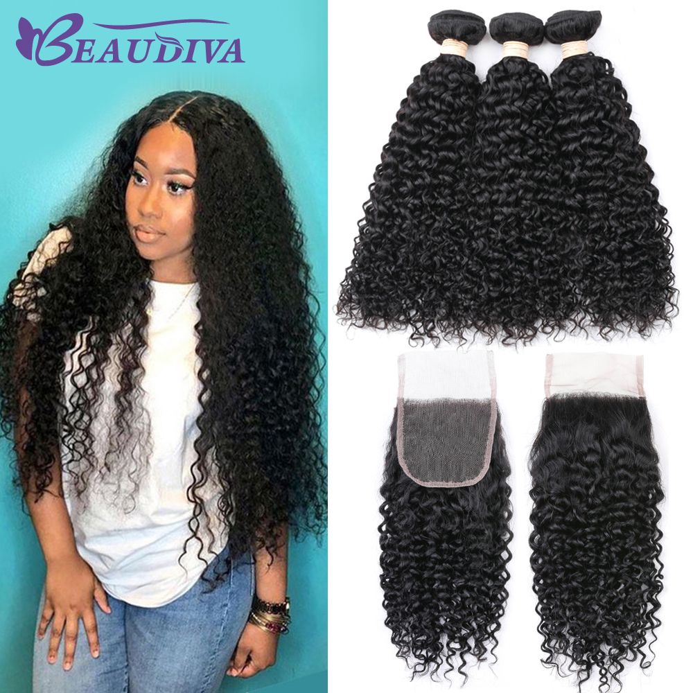 BEAUDIVA Indian Kinky Curly Human Hair Bundles with Lace Closure Brazilian Hair Weave Free Shipping