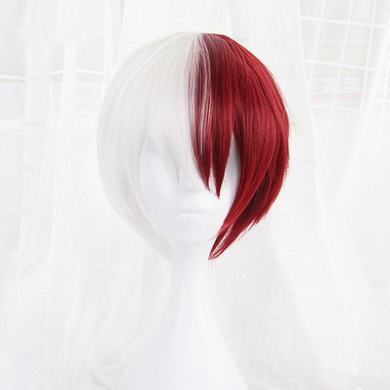 Wig-Cap Academia Todoroki Red Cosplay White My Hero Shoto No-Hiro Boku And