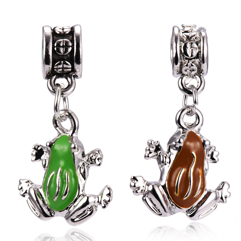 European Women DIY Jewelry Big Hole Metal Bead Pendant Brown & Green Frog Floating Charm Fit for Pandora Bracelet Necklace Chain