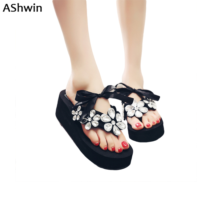 1c5f512cb2c0 Ashwin shiny flower slippers luxury diamond flip flops summer women sandals  wedge platform high heels hawaiian