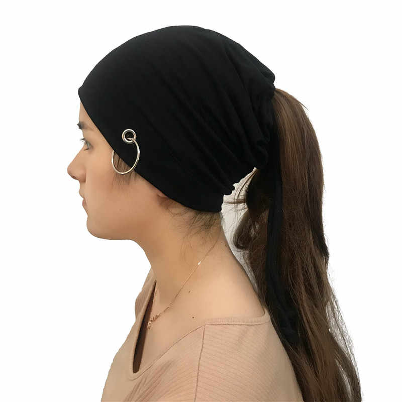 3998a51ff63 ... 2018 Winter Unisex Caps New Skull Slouchy Ponytail Beanie Hats for  Women Men Punk Rock Ring ...