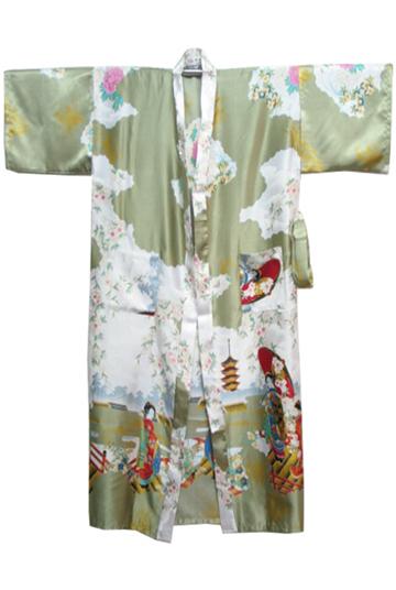 Verde novo chinês tradicional de seda Rayon mulheres Robe vestido Kimono banho pijamas RB0036