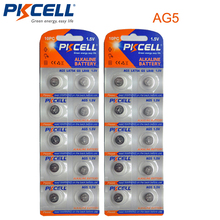 20 Chiếc/2 Thẻ PKCELL AG5 1.5V AG5 393 SR754W SR48 Kiềm Đồng Xu Cell Pin Nút Cho đồng Hồ
