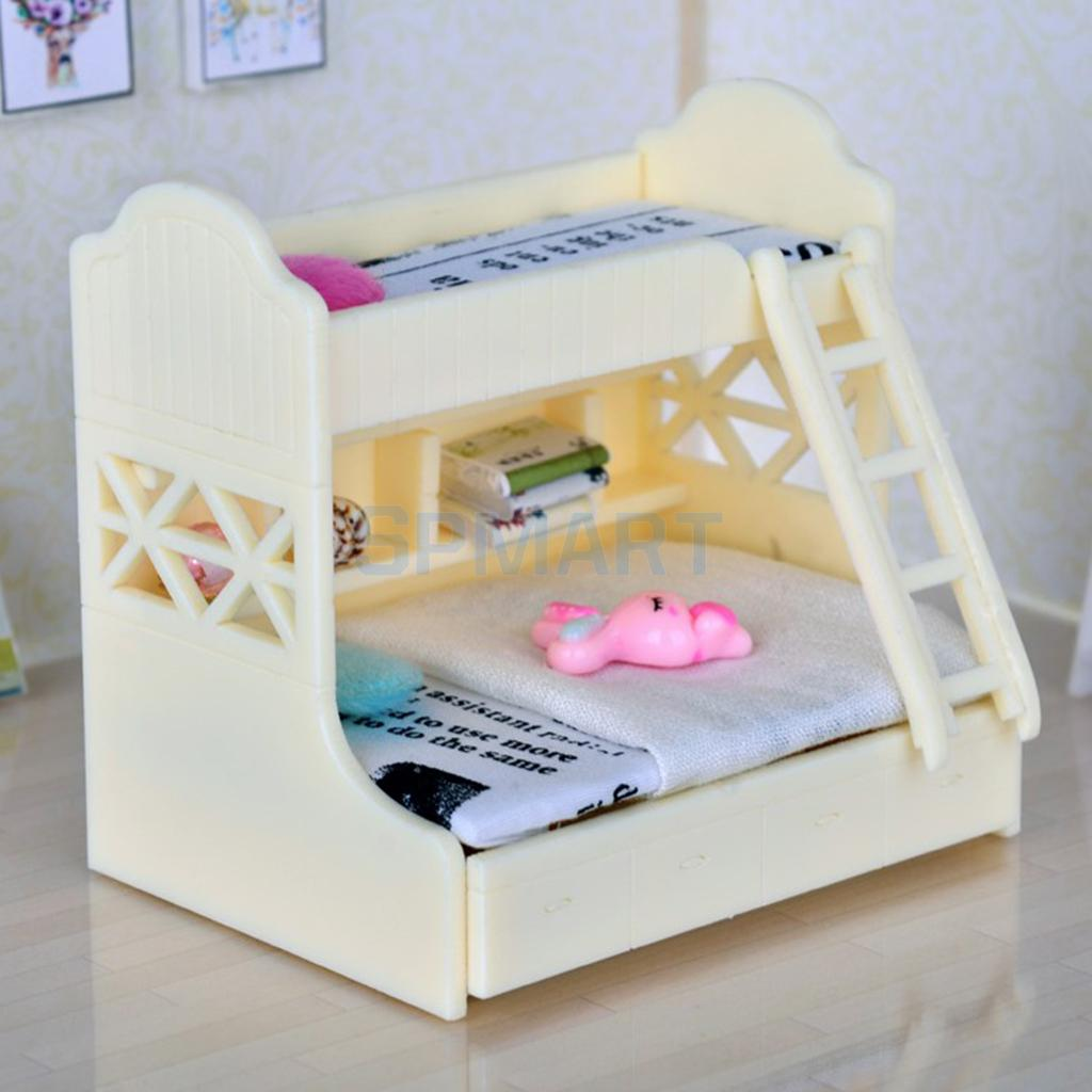 1 12 Miniature Children Bunk Bed Double Bunk Dollhouse Bedroom