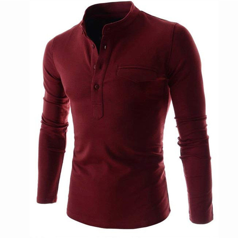 Brand   Polo   Shirt Men Long Sleeve Stand Collar Shirt Casual Solid White   Polos   Vintage Pockets Men Clothes False Shirt