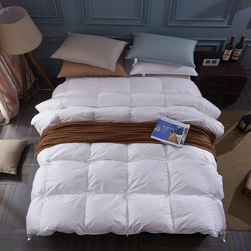 100% bianco anatra/piuma d'oca inverno quilt consolatore coperta duvet copertura del cotone di riempimento a due letti singolo regina cena king size nave veloce