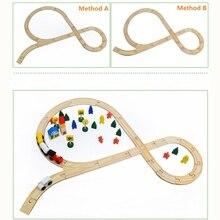 Деревянная железная дорога деревянный поезд трек совместимый Томас поезд набор поезд игрушки аксессуары деревянные транспортные средства рельсы для детей день рождения