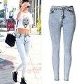 Новая Мода Дамы Высокой Талией Джинсы Узкие Джинсы Femme Плотно джинсовые брюки Стрейч Промытые Голубые Джинсы Haute Taille плюс размер