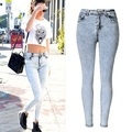 New Fashion Ladies High Waist Jeans Skinny Jeans Femme Tight denim pants Stretch Washed Light Blue Jeans Taille Haute plus size