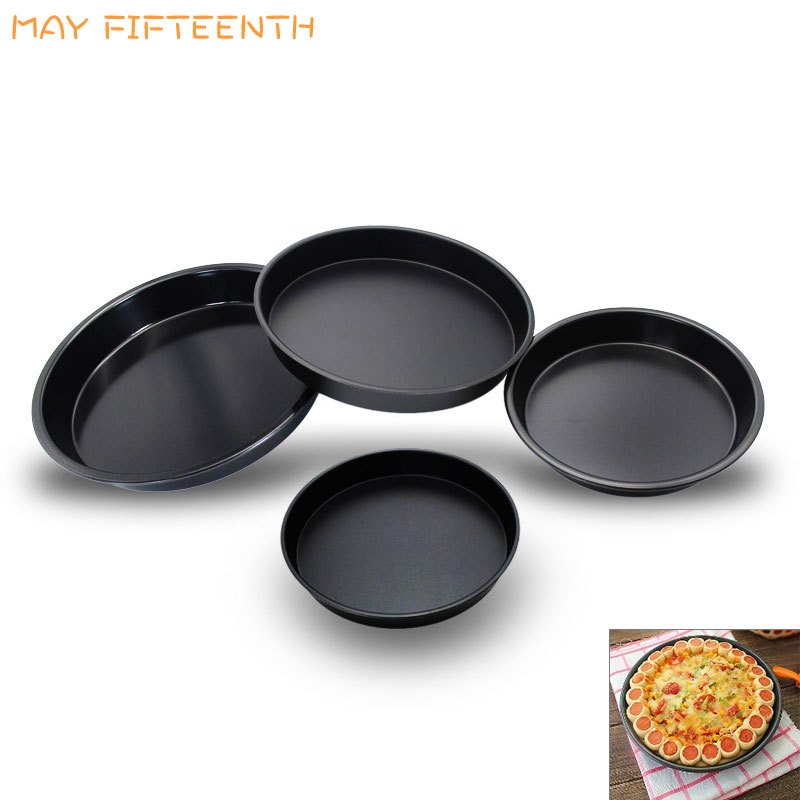 MAY FIFTEENTH Round Deep Frying Pan for Pancakes Non-stick Pizza Pie Pan Carbon Steel Thick Baking Pan Baking Tray Cake Dish 044