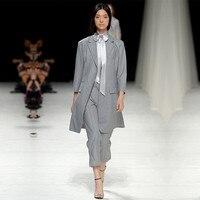 Для женщин женские офисные формальные брюки Повседневная обувь костюмы Бизнес костюмы Для женщин брюки костюм Slim Fit Светло серый куртки с б
