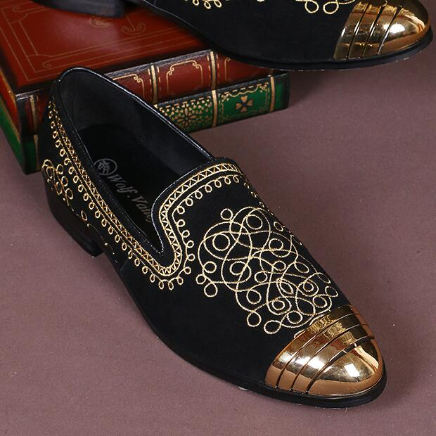 2018 Follwwith Brand Gold Paisley Embroidery Bordered Smoking Suede Men Loafers Slip On Sapatos Mujer Party Casual Shoes electric pressure cooker parts float valve seal