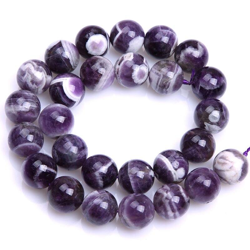Круглые бусины фиолетового кружевного аметиста, незакрепленные бусины из натурального камня для изготовления ювелирных украшений, нитка 15 дюймов - Цвет: 14mm
