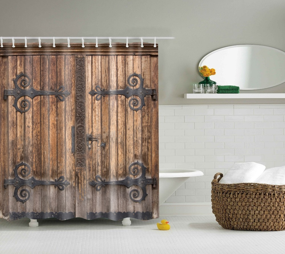 Luxury bathroom curtains - Vintage Wood Door Shower Curtain Europe Style Retro Door Luxury Video Props Bathroom Curtains China