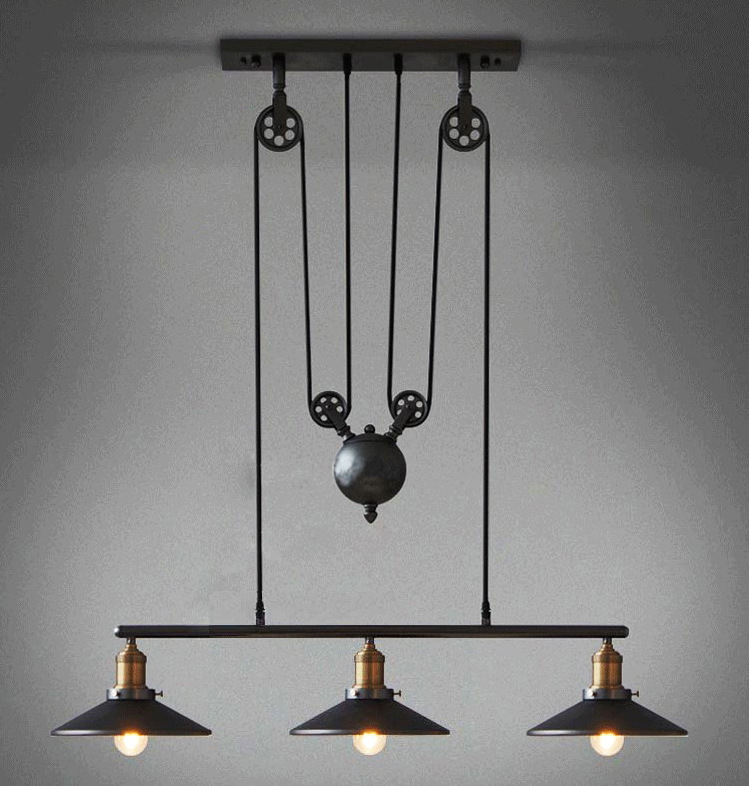 American Countryside 3 Lights Pulley Chandelier Loft Wrought Iron Flexible Lamp Sitting Light Dining Room Light Free Shipping