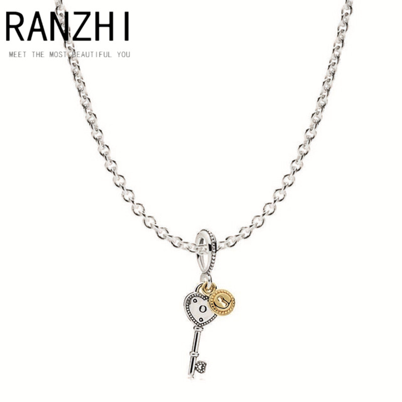 RANZHI Tiff Book Di 100% 925 Sterling Silver Key To My Heart Necklace Gift Set fit charm original Necklace Women jewelry A Set