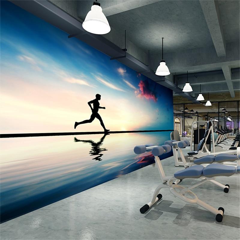цены beibehang papel de parede 3D fashion Running sportsman beauty fitness club gym large mural wallpaper wallpaper yoga
