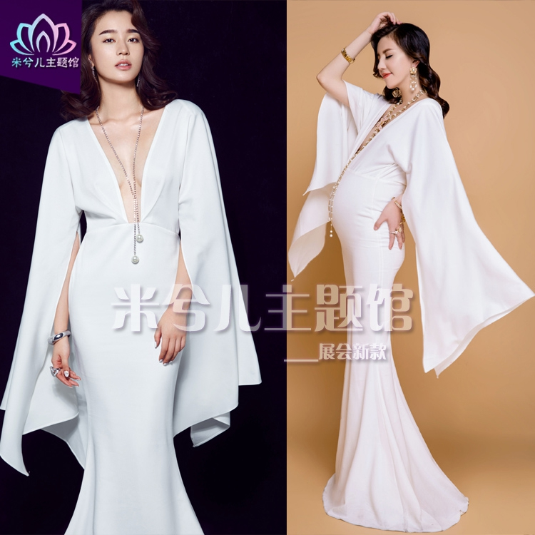 New Mermaid V neck Bat sleeve Maternity Pregnant Maternity Women Photography Props Women Long Pure white Dress Fancy costume pure color v neck hollow maternity t shirt