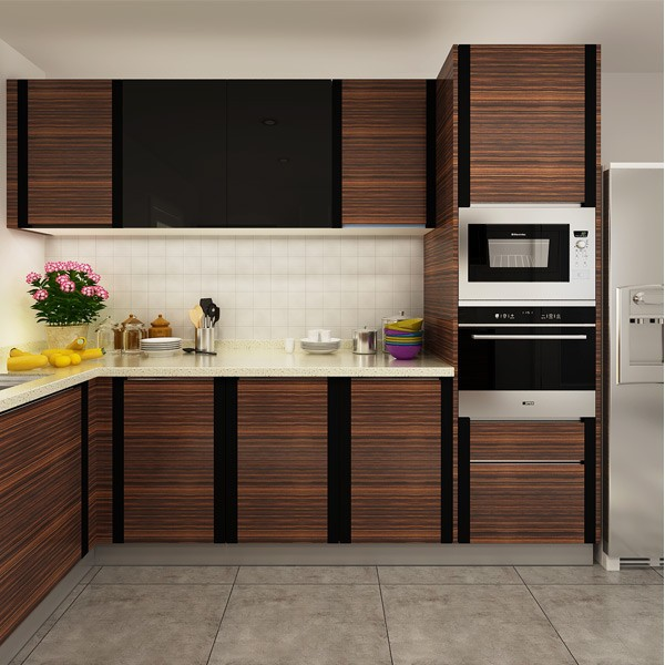 Kenya Project Commercial Kitchen Cabinet With PVC Sheet (OP14 PVC02)-in Kitchen Cabinets From