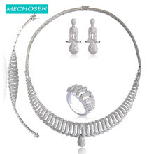MECHOSEN Luxury Copper Bridal Wedding Jewelry Sets Zirconia Necklace Earrings Bracelet Rings Set Choker Brincos Pulseira Anel