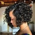Роза Волос продукты Малазийский бодрый вьющиеся funmi hair короткие вьющиеся тетушка fummi волос weave связки 100 Человеческих волос tissage