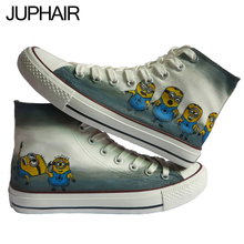 JUP 9 Styles Despicable Me Minion Men Males Couples Student Hand Painted Canvas Shoes S Animation Simpsons Footwear for Boy Girl