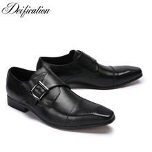 Deification Sapato Social Black Men Dress Shoes Masculino Luxury Genuine Leather Elegant Business Formal Oxford For
