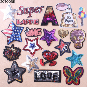 ZOTOONE Colorful Stars Sequin Patch for Clothing Embroidered Patches Applications for Jacket Clothes Badges Stickers Appliques E