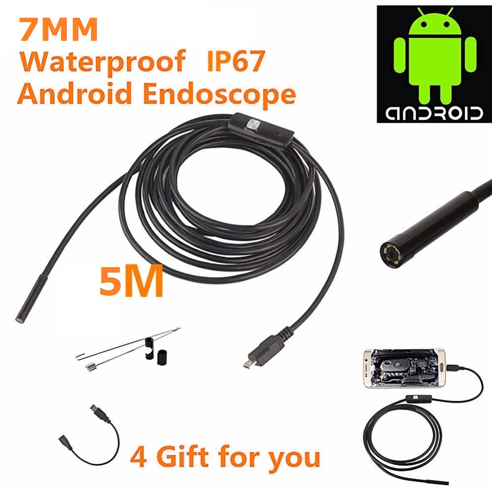 Android USB Endoscope 6 LED 7mm Lens Waterproof Inspection Borescope Tube Camera with 5M Cable Mirror Hook Magnet android usb endoscope 6 led 7mm lens waterproof inspection borescope tube camera with 2m cable mirror hook magnet