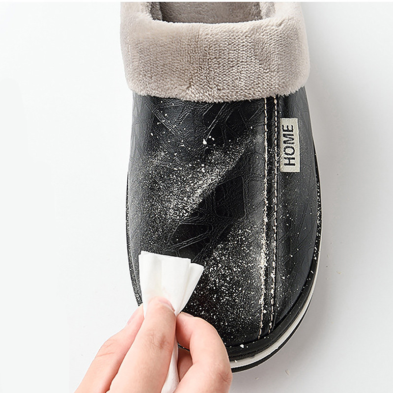 Image 5 - ASIFN Men Slippers Indoor Leather Winter Waterproof Warm Home Fur Women Slipper Male Couple Platform Shoes Fluffy Big SizesSlippers   -