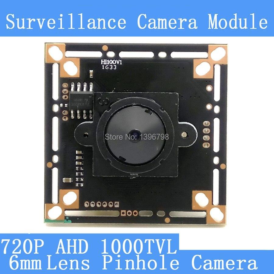 AHD Four in one 1000TVL CCTV night vision camera module  Mini 6mm Pinhole camera 1/4 CMOS image sensor surveillance cameras 1 3mp ahd 1200tvl mini night vision surveillance camera 1 3 cmos 6mm lens cctv 960p camera module osd cable