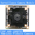 "AHD Four in one 1000TVL CCTV night vision camera module  Mini 6mm Pinhole camera 1/4 ""CMOS image sensor surveillance cameras"