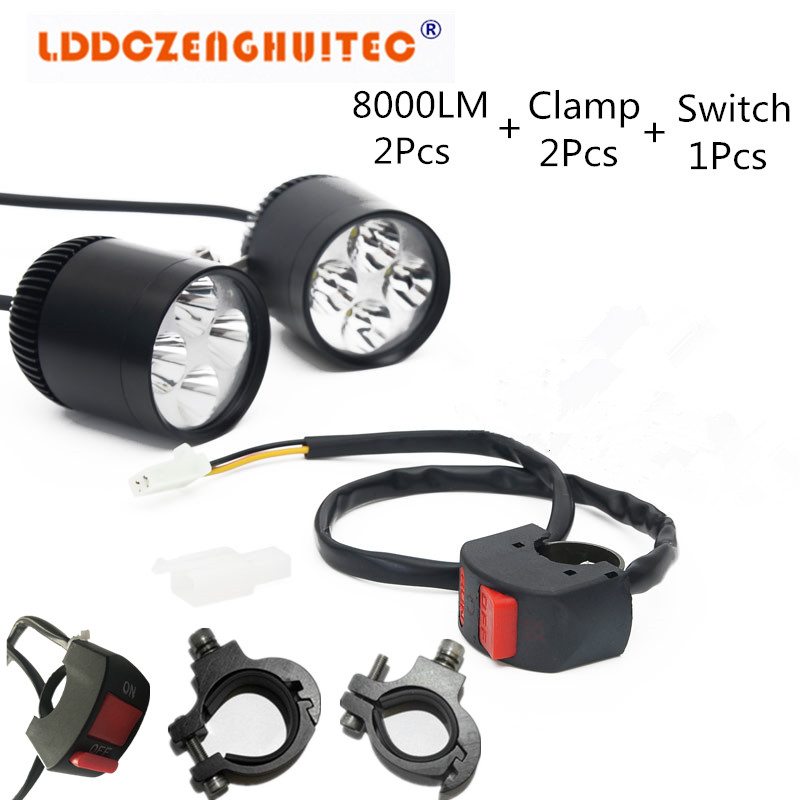 LDDCZENGHUITEC LED Motorcycle Motorbike Headlight Driving Fog Light Spot Lamp Angel Eyes Strobe Lamp Flash Headlight garda decor тумба под телевизор two level