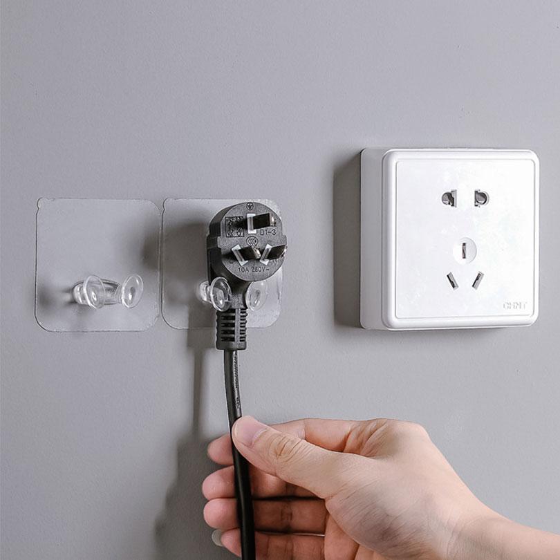 Bathroom Fixtures Home Office Wall Adhesive Plastic Power Plug Socket Holder Hanger Hook Rack Kithcen Washroom Bathroom Hooks Wire Plug Hook Tools