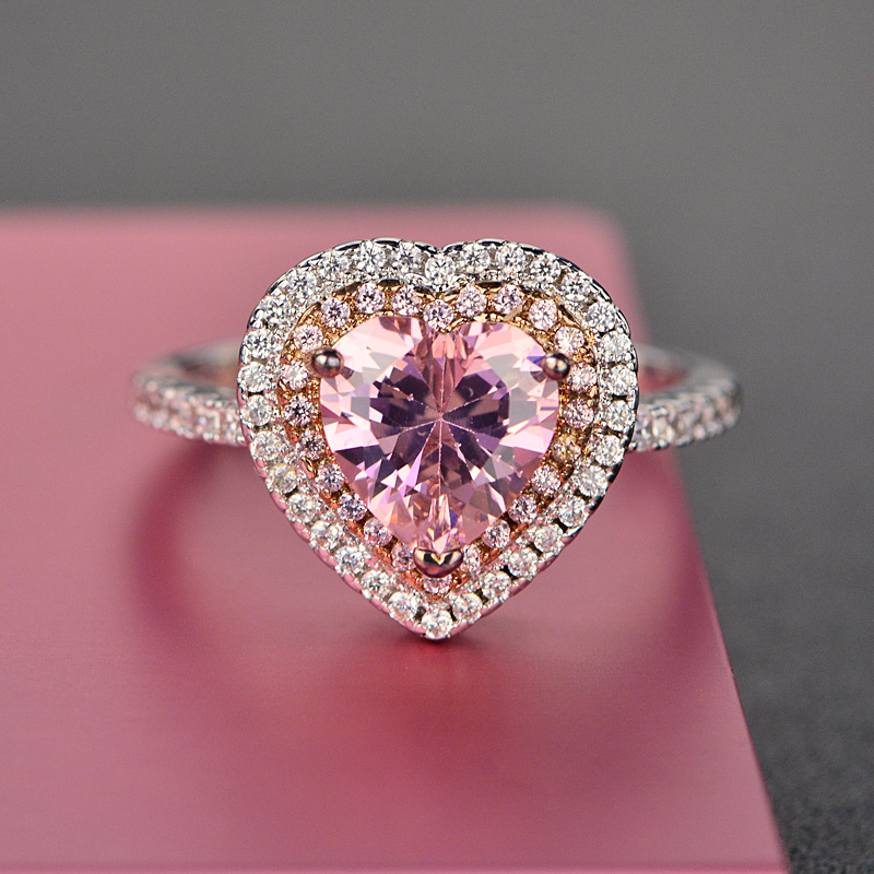 Rings For Women S925 Sterling Silver Pink Heart Topaz Gemstone Fine Jewelry Romantic Cute Wedding Engagement Ring Accessoires