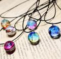 new Collares Duplex Planet long Choker Harajuku Stars Short Glass Galaxy Pattern Necklaces & Pendants Maxi Necklace For Womem
