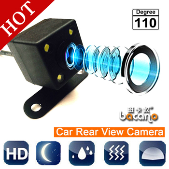Envío Gratis 110 grados impermeable 4 LED de visión nocturna coche CCD cámara de visión trasera sistema de asistencia para aparcamiento para Monitor