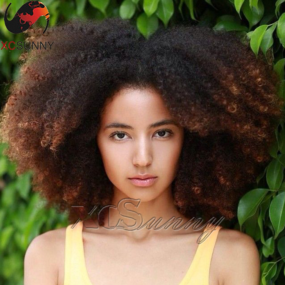 Ombre Color Lace Front Wig Short Curly Hair 200 Density 100% Human Hair Glueless Full Lace Afro Kinky Curly Wigs For Black Women