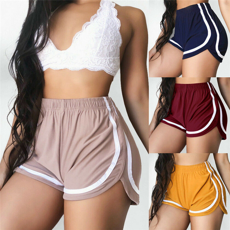 2019 New Simple Women Casual Shorts Patchwork Body Fitness Workout Summer Shorts Female Elastic Skinny Slim Casual Shorts