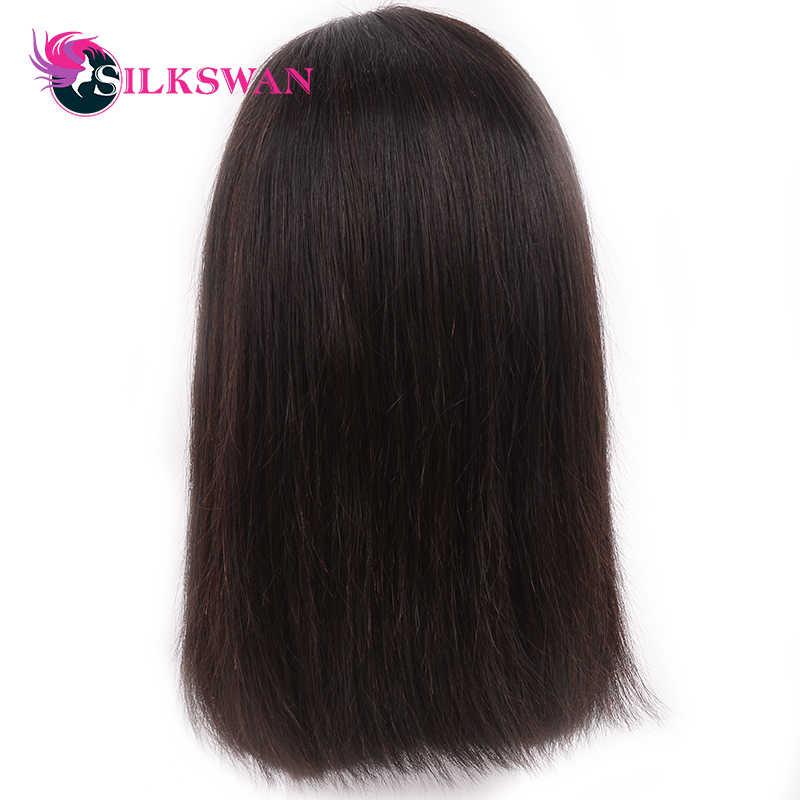 Silkswan kısa postiç Hint Düz Remy Saç Dantel Ön İnsan Saç Peruk 130% Yoğunluk Doğal Renk Bob Peruk Ücretsiz Kargo