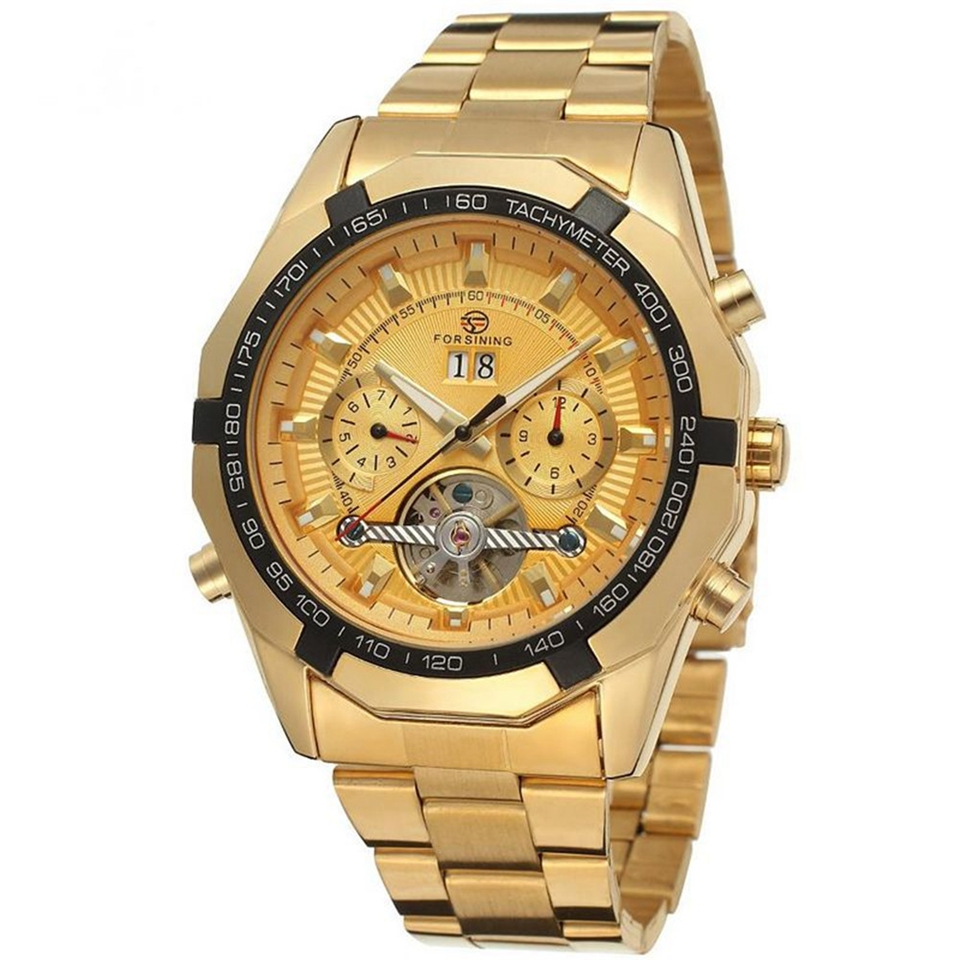 FORSINING Mens Watches Top Luxury Brand Men Tourbillon Watch Automatic Mechanical Men Gold Wrist Watch Relogio Masculino
