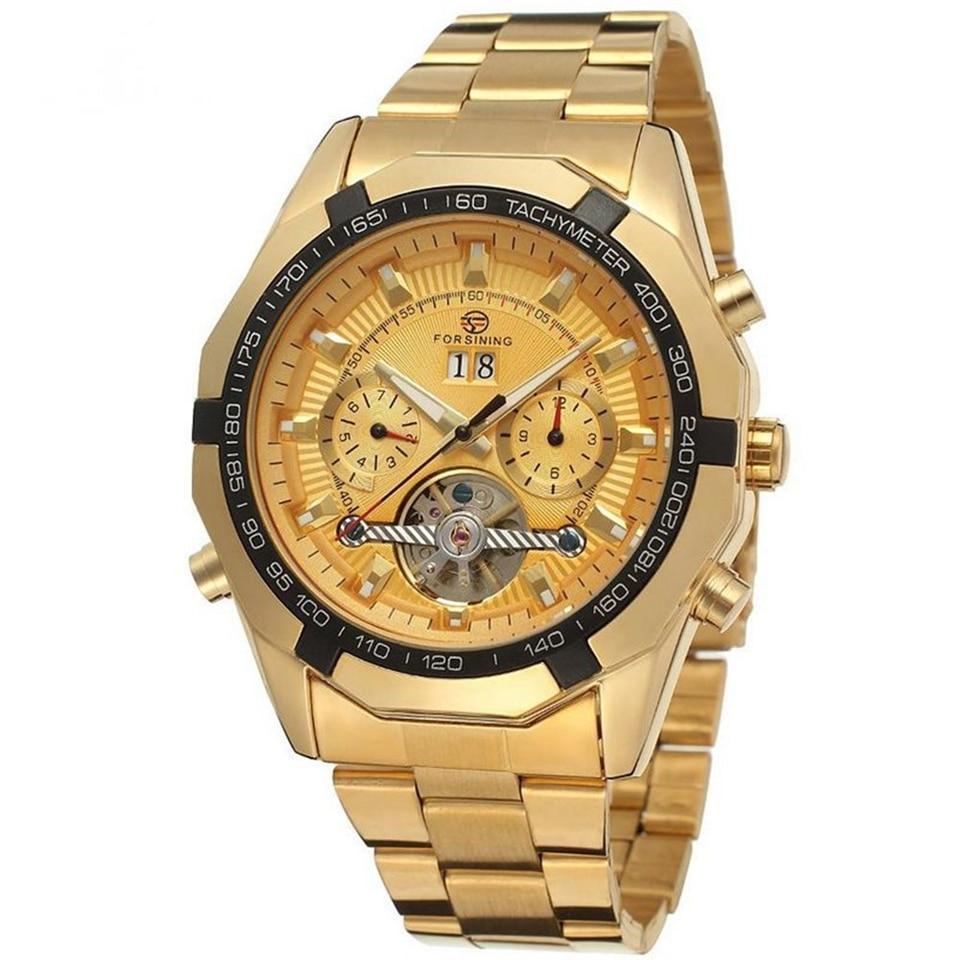 Forsiningメンズ腕時計トップの高級ブランド男性トゥールビヨン腕時計自動機械式男性ゴールド腕時計レロジオmasculino  グループ上の 腕時計 からの 機械式時計 の中 1