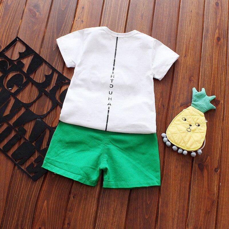 Summer Baby Boys cotton Kids Children Letter Short Sleeve T-shirt +casual cartoon Shorts 2pcs Infants Clothes Set C173