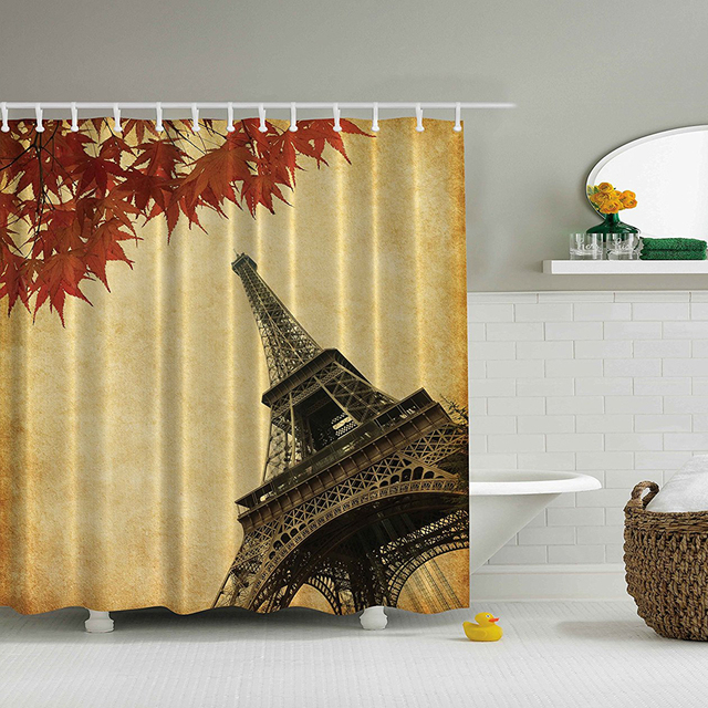 Shower Curtain European Cityscape Paris Love Decor Fall Leaves In Autumn View French Romantic City