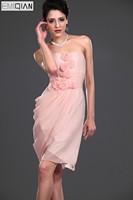 Designer A Line Sweetheart Flower Short Pink Chiffon Bridesmaid Dress Knee Length Wedding Party Dress