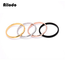 Ailodo Fashion Stainless Steel Rings For Women Men Gold Silver Rose Gold Black Color Couple Rings Party Wedding Jewelry LD002 цена и фото