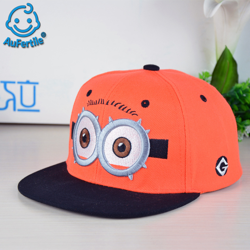 Little Yellow Cartoon Big Eyes Kids Hat Boys and Girls Hip-hop Cap Flat Edge Child Baseball Cap Spring Summer Outdoor Headwear which in shower embroidered dropout bear dad hat women men cartoon rapper strapback snapback baseball cap hip hop trucker bone